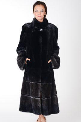 Stalowo-czarne futro z norek R232