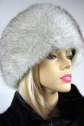 czapka z lisa naturalnego biała