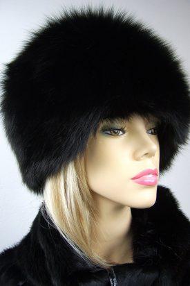czapka z lisa naturalnego czarna