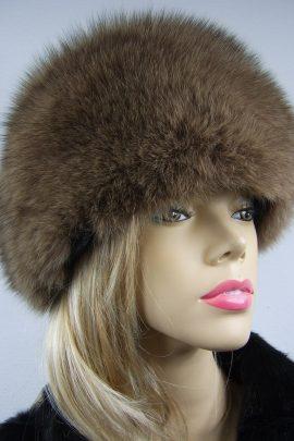 czapka z lisa naturalnego beżowa