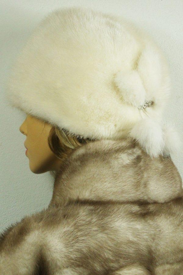 czapka futrzana z norki tył LN18-1