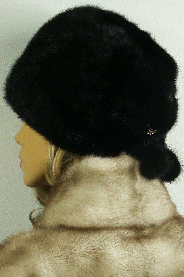 czapka futrzana z norki tył LN19-1