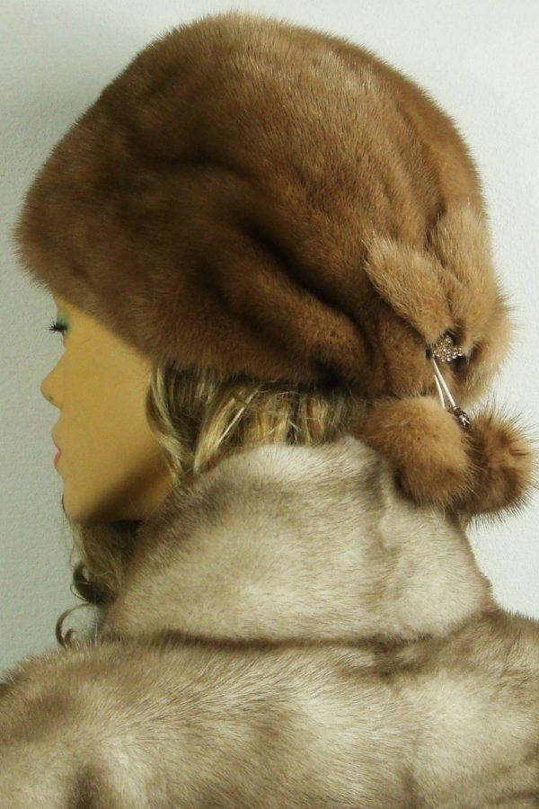 czapka futrzana z norki tył LN21-1