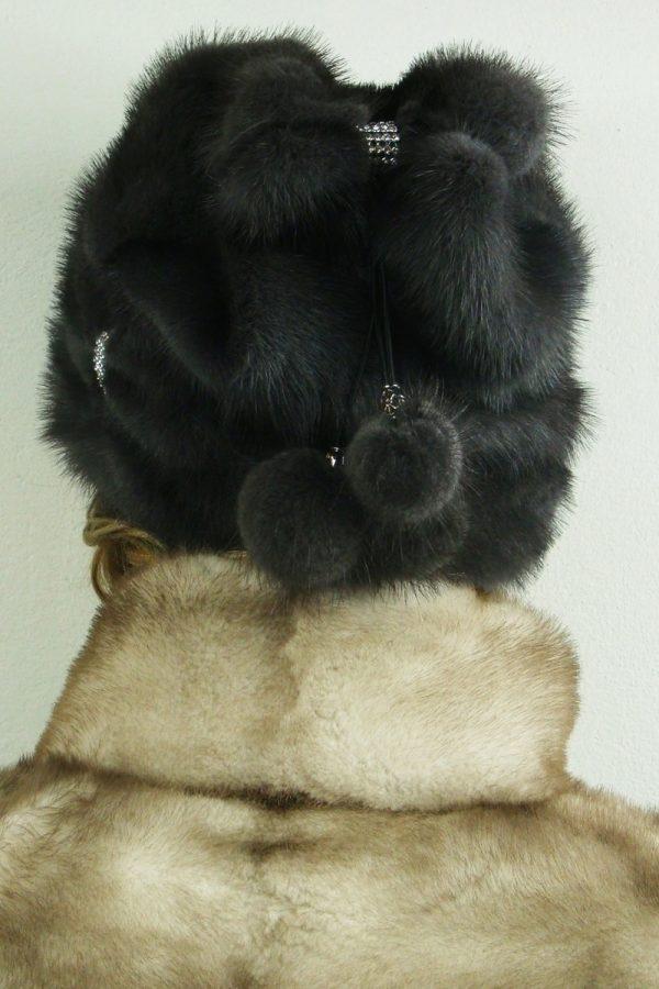 czapka futrzana z norki tył LN22-1