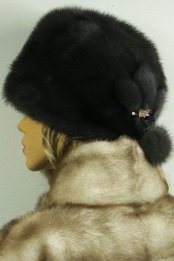 czapka futrzana z norki tył LN23-1