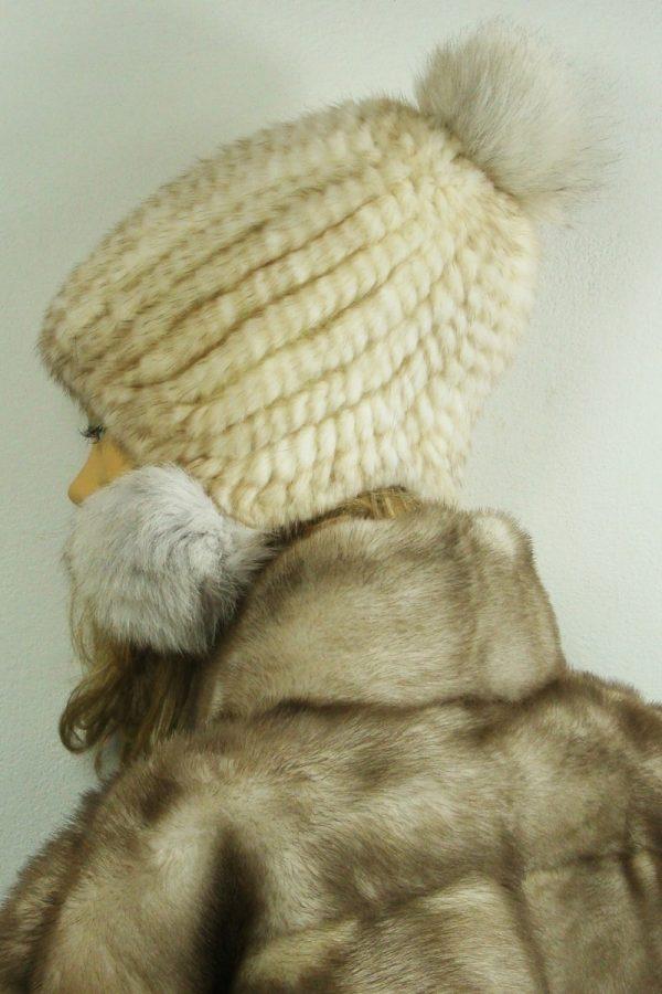 czapka futrzana z norki tył LN26-1