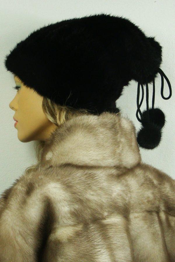 czapka futrzana z norki tył LN27-1
